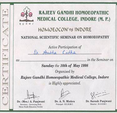 Rajeev Gandhi Homeopathic Medical College Certificate